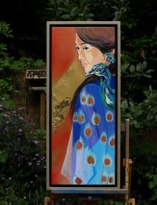 schilderij Japanse met pauw Ank ter Kuile