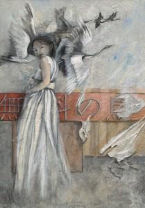 Vrije vogel Japan painting schilderij Ank ter Kuile